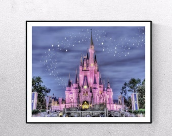 Cinderella wall art etsy for Disney castle wall mural