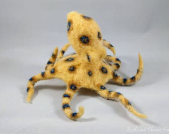 Needle Felted Animal, Blue Ringed Octopus Hanging Sculpture
