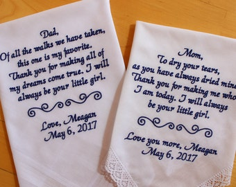 Parents of the Bride-Set of 2-gift from the Bride-Wedding Handkerchief-EMBROIDERD-CUSTOMIZED-Wedding Hankerchief-from daughter-MS1LS0F23