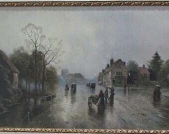 J W Gozzard Artist Print-English Village Scene
