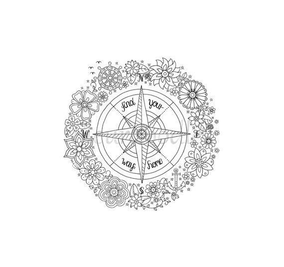 Coloring Page Compass Instant Download Printable Hand