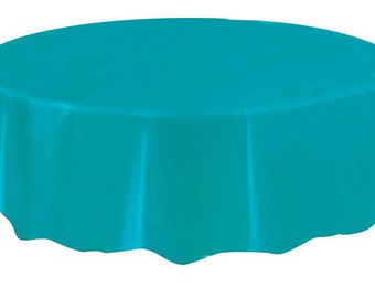Caribbean Teal Round Plastic Table Cover