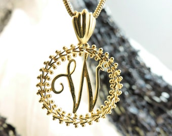 """Gold Inital """"W"""" Necklace, 14K Gold Necklace"""