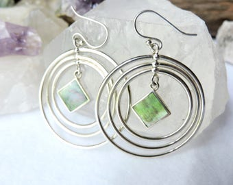Abalone Shell Dangle Earrings Sterling Silver