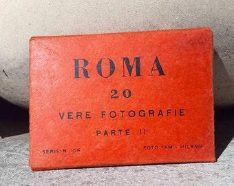 Vintage Sepia Black and White 20 Photographs / ROMA / Italy Mini Postcards/ Souvenir book / Travel booklet / Gift / Collectible