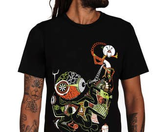 Forest T shirt- Lsd Tshirt -Festival Clothing- Acid T-shirt- Hoffman Bicycle Day Tshirt- Psychedelic T shirt- Trippy T shirt- Yantra- Owl