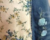 Apron for Jeanne Denim full apron dress, blue rose embroidery, blue yellow rose pocket, adjustable pastel cross straps, repurposed denim