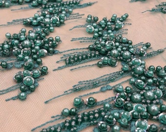 Luxury 3D  green  lace fabric, hand made beads  3D flowers, French Lace, pearl Embroidered lace, Wedding Lace, Bridal lace  K00423