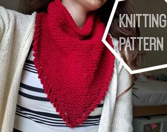Knit Bandana Scarf Pattern, Knit Triangle Scarf Pattern, Infinity Triangle Knit Cowl Pattern, Knit Infinity Scarf, Infinity Kerchief Pattern
