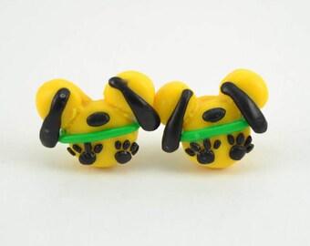 Pluto Mickey Inspired Stud earrings. Pluto earrings. Polymer clay earrings. Pluto mickey. Mickey earrings.