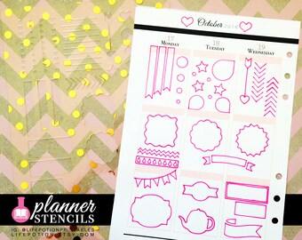 A5 Planner Stencils - Bullets Shapes Banners Flags