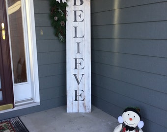 "Distressed Christmas ""Believe"" Pallet Sign For Front Door or Front Porch"