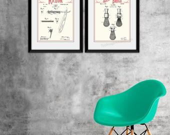 Bathroom Patents, Bathroom Patent, Bathroom Print Set, Bathroom Art, Razor, Shaving, Restroom Decor, Printable Men Gift, Vintage Wall Art