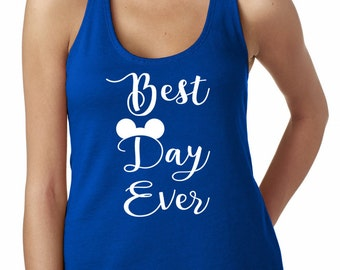 Best Day Ever Shirt,Mary Poppins, Ladies'The Terry Racerback Tank , funny shirt.Birthday Gift, workout clothes,Disney Family Shirt
