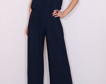 Women jumpsuit Navy Jumpsuit Wide leg jumpsuit Halter jumpsuit