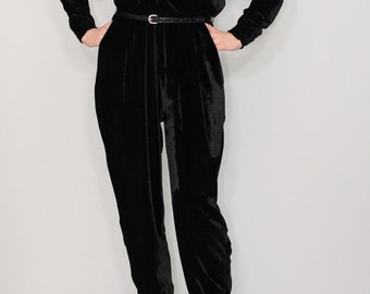 Black velvet jumpsuit Long sleeve jumpsuit Batwing jumpsuit