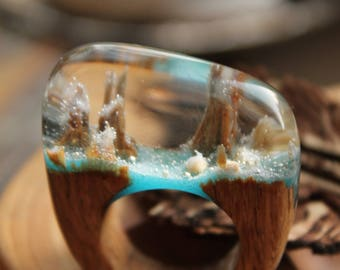 Turquoise ring white jewelry tale ring Fancy jewelry Dream mountains Ring Woodland jewelry  Narnia Ocean ring Wooden resin ring Gift bride