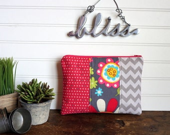 Large Flat Make Up Bag, Pink and Grey Flowers, Dot and Chevron, Large Zipper Pouch, Travel Bag