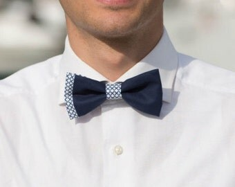 Blue bow tie with geometric design sidebar