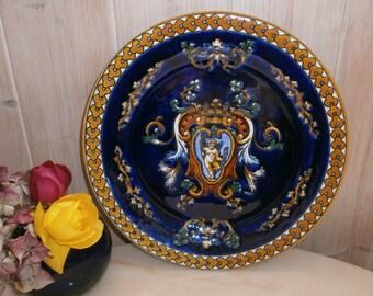 french Vintage GIEN earthenware Renaissance background blue Greek Cherub-french Vintage GIEN earthenware Renaissance cherub Greek Blue