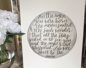 Nursery || On the night you were born || Baby Shower || Hand-lettered Wall Art ||
