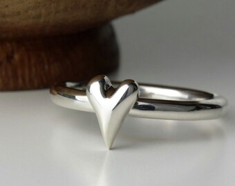 Handmade Sterling Silver Heart Ring,arts and craft heart,unique carved heart ring,british made silver heart ring,stackable silver heart ring