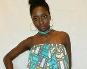 Mena Mode Ankara Flare Elastic Strapless Top and matching choker Attire in African Fabric for formal events