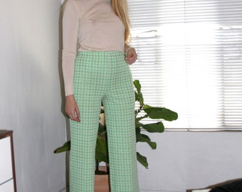 70s Vintage High Waisted Plaid Pants, Green Plaid, Adjustable Waist