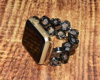 Apple watch band // hematite and white quartz apple watch accessories 38mm / 42mm apple watch strap lugs adapter - iwatch band women