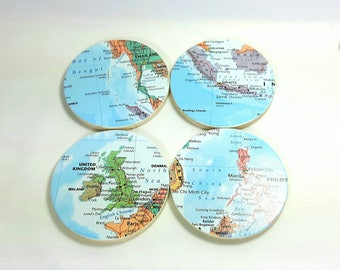 Custom Coasters, World Map Gifts, Map Coasters, Wedding Coasters, Housewarming Gift, Coasters, Coaster Set, Travel Gifts, Wanderlust Gifts