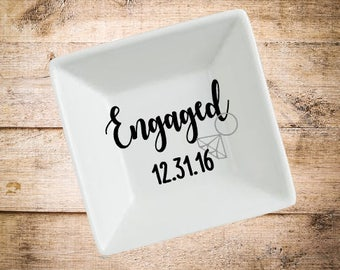 Engagement Ring Dish- Engaged Ring Dish- Engagement Gift- Engagement Party- Engagement Present- Ring Dish- Personalized Ring Dish- Fiancée