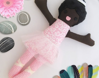 Black Girl Ballerina, Rag Doll Toy, Dress up Rag Doll, Removable Outfit, Ethnic rag doll, Kids Gift, Cucoli /Poupee de chiffon, Poupee noire