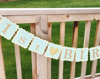 Party decoration, Birthday Banner, Baby Shower banner, Baby boy Birthday banner, Blue/Yellow and Gold Birthday Banner, Custom Banner.