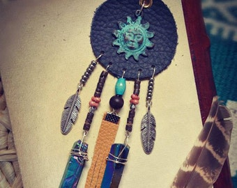 Native Dreamcatcher Ethnic Leather Necklace Hippie Bohemian Gipsy Tribal Nomade coins kochi titan aura quarry