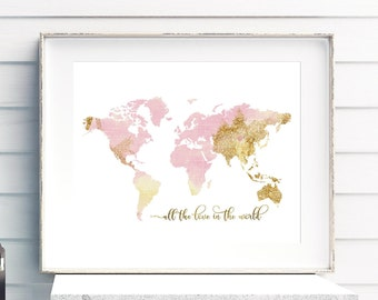 Handmade pink gold print etsy world map nursery print pink and gold nursery decor all the love in the gumiabroncs Choice Image