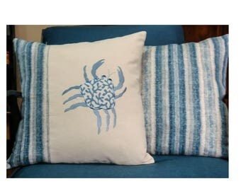 Embroidered Coastal Crab Coordinated pillows, Cornflower Blues