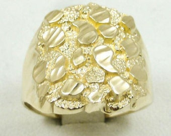NEW! Solid 10K Yellow Gold Extra Large Men's Diamond Cut Nugget Ring, Size 5 - 15