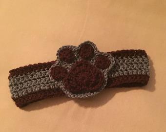 Crochet Paw Print Ear Warmer, Headband