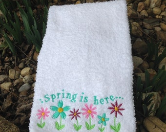 Spring embroidered hand towel
