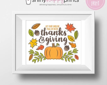 Thanks & Giving Digital Print, Thanksgiving DIY Art, Download Fall Autumn Holiday Decor and Signs, Instant Download, Shiny Happy Prints
