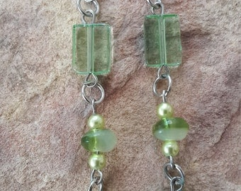 Simple earrings dangle drop earrings straight/stylish/fashion/modern/elegant/long/beaded/handmade/wedding /bridesmaid/light/spring/earrings