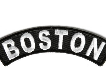 Boston Rocker Iron On Patch - 4 x 1 inch Free Shipping Biker Veteran Military Biker P3605
