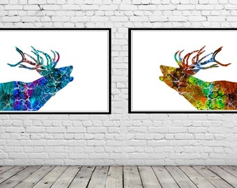 Deer, deers, watercolor deer, watercolor art print, animal print,  watercolor print deer, animal art, deer, set, set of 2 print(1699,702b)