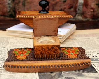Ink Blotter and Inkwell - Grandpa Gift - Rocking Ink Blotter - Vintage Blotter - Hand Carved Wooden Inkwell - Vintage Ink Well - Desk Decor