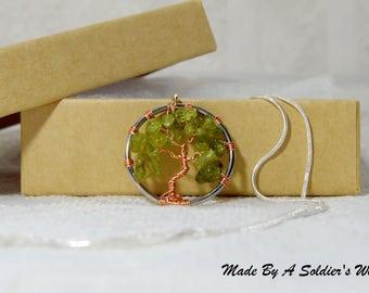 Small Peridot Tree-Of-Life Copper Pendant