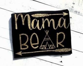 Mom shirt - Mama bear - tee shirt - mom gift - gold glitter - new mom - baby shower gift