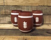 Football Wine Glass, Stemless Football Wine Glass, Football Tumbler Gifts, Hand Painted Football, Sports Wine Glasses, Football Coach Gifts