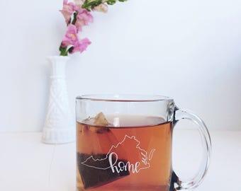 Virginia State Outline Home Mug   Clear Glass Mug   White Hand Lettering   Glass Coffee Mug