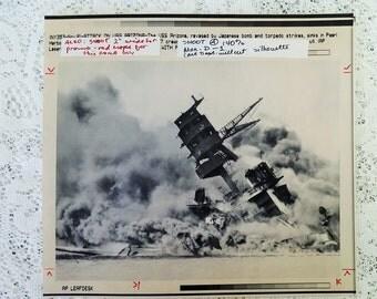 Pearl Harbor AP Press Photo with COA - USS Arizona sinks, ravaged by Japanese strikes