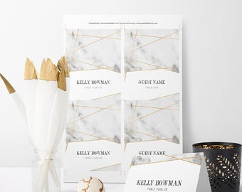 Faux Gold Geometric Lines Wedding Place Cards | Self-Edit PDF Instant Download